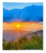 Blue Ridge Parkway Late Summer Appalachian Mountains Sunset West Fleece Blanket