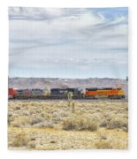 Bnsf 9112 Westbound From Boron Fleece Blanket