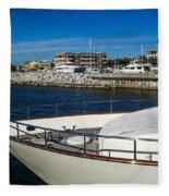 Boats In Port Fleece Blanket