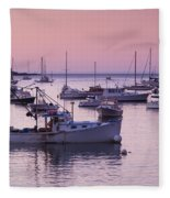 Boats In The Atlantic Ocean At Dawn Fleece Blanket