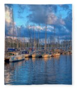 Boats In The Harbor Of Barcelona Fleece Blanket