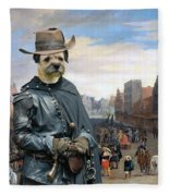 Border Terrier Art Canvas Print Fleece Blanket