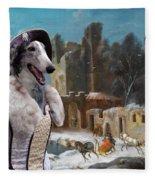 Borzoi - Russian Wolfhound Art Canvas Print Fleece Blanket