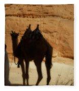 Bou Bou Camel With Beduin Owner  Fleece Blanket