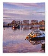 Bowling Harbour Panorama 02 Fleece Blanket