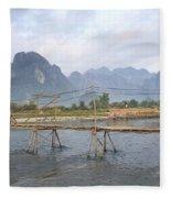 Bridge In Vang Vieng Laos Fleece Blanket