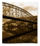 Bridge Reflections In Autumn Fleece Blanket