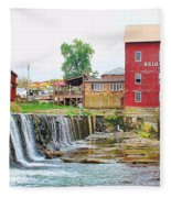 Bridgeton Mill And Covered Bridge Fleece Blanket