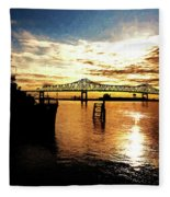 Bright Time On The River Fleece Blanket