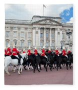 British Royal Guards Perform The Changing Of The Guard In Buckingham Palace Fleece Blanket