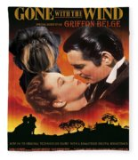 Brussels Griffon Art - Gone With The Wind Movie Poster Fleece Blanket