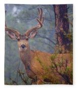 Buck Deer In A Mystical Foggy Forest Scene Fleece Blanket