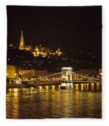 Budapest At Night Fleece Blanket