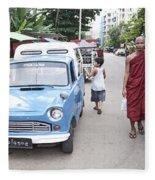 Buddhist Monks In Yangon Street Myanmar Fleece Blanket