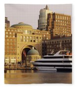 Buildings At The Waterfront, Boston Fleece Blanket