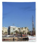 Buildings At The Waterfront, Columbus Fleece Blanket