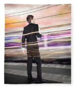 Business Man At Train Station Railway Platform Fleece Blanket