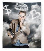 Business Man Planning Work Life Balance Strategy Fleece Blanket