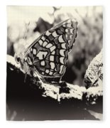 Butterfly In Black And White  Fleece Blanket