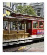 Cable Car On Turntable San Francisco Fleece Blanket