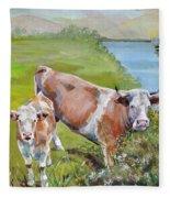 Cow And Calf Fleece Blanket