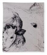 Calves, Gt Garnetts II Pen & Ink On Paper Fleece Blanket
