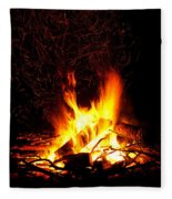 Campfire As A Symbol Of Warmth And Life On Black Fleece Blanket