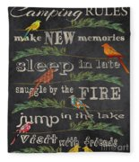 Camping Rules-d Fleece Blanket