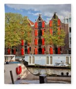 Canal In The City Of Amsterdam Fleece Blanket
