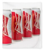 Cans Of Budweiser Beer Fleece Blanket