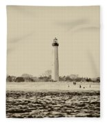 Cape May Lighthouse In Sepia Fleece Blanket