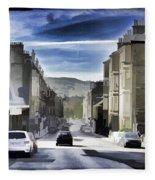 Car In A Queue Waiting For A Signal In Edinburgh Fleece Blanket