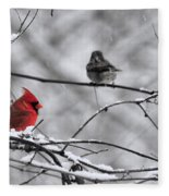 Cardinal In Winter Fleece Blanket