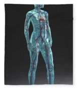 Cardiovascular System Female Fleece Blanket