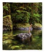 Cascade Locks, Oregon, Usa. A Woman Fleece Blanket