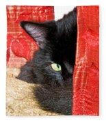 Cat Hiding Behind Drapes Fleece Blanket