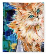 Cat Orange Fleece Blanket