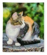 Cat On Tree Trunk Fleece Blanket