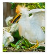 Cattle Egret With Young In Nest Fleece Blanket