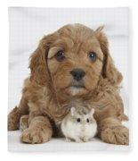Cavapoo Puppy And Roborovski Hamster Fleece Blanket