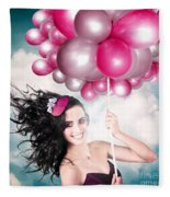 Celebration. Happy Fashion Woman Holding Balloons Fleece Blanket