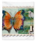 1 Cent Butterfly Stamp Fleece Blanket