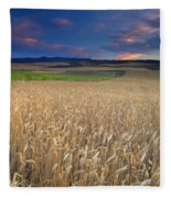 Cereal Fields At Sunset Fleece Blanket