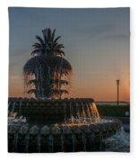 Pineapple Fountain Charleston Sc Sunrise Fleece Blanket