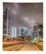 Charlotte Nc Usa Skyline During And After Winter Snow Storm In January Fleece Blanket