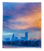 Charlotte The Queen City Skyline At Sunrise Fleece Blanket