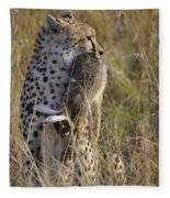 Cheetah Carrying Its Prey Fleece Blanket