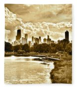 Chicago In Sepia Fleece Blanket