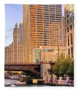Chicago River Reflections Fleece Blanket