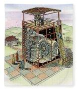 Chinese Astronomical Clocktower Built Fleece Blanket